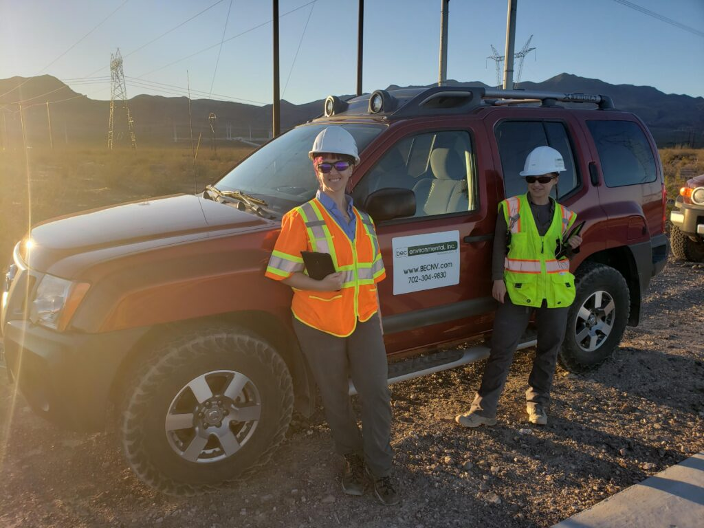 BEC Environmental Scientists working on a construction site to monitor for the Mojave desert tortoise