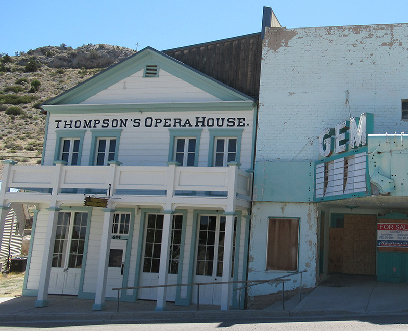 Thompson's Opera House in Pioche, Nevada attached to the Gem Theater brownfield site