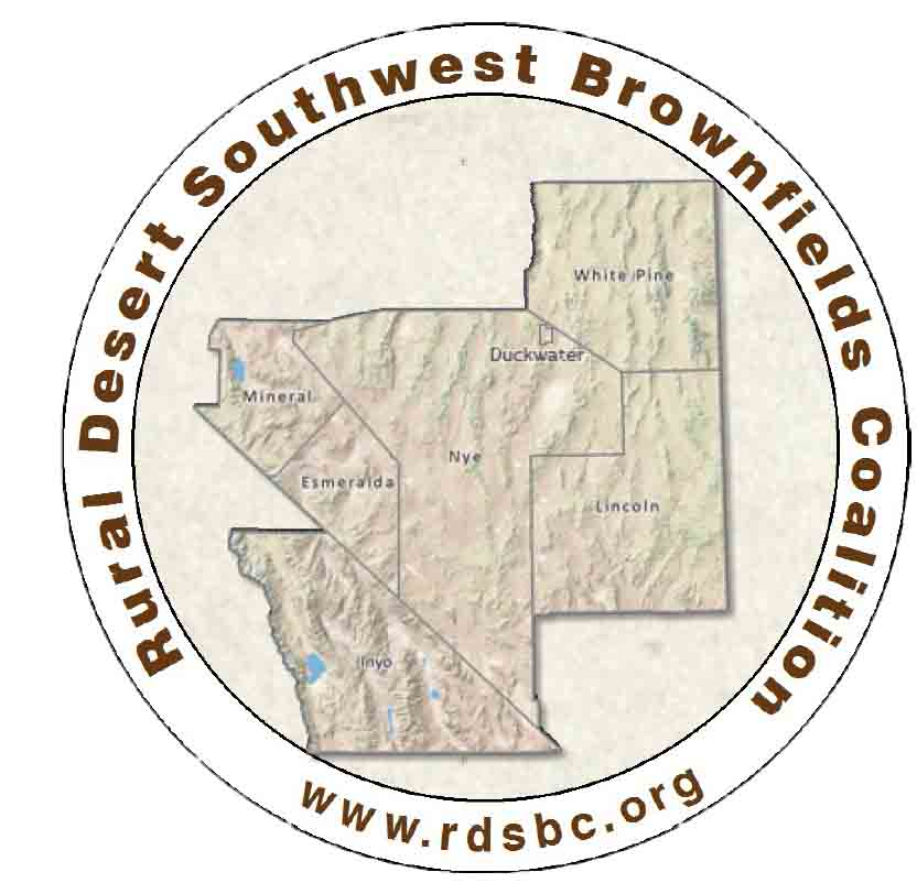 Rural Desert Southwest Brownfields Coalition logo that includes all members on a map: Nye, White Pine, Lincoln, Esmeralda, Mineral, and Inyo counties, and the Duckwater Reservation