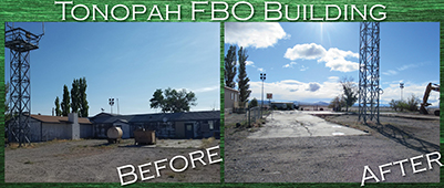 Before and after photo comparison showing the old FBO building, in disrepair with an above-ground storage tank above it on the left and showing the foundation of the demolished building and construction equipment on the right.